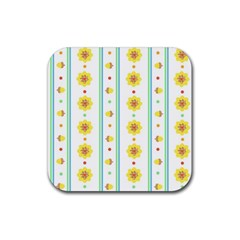 Beans Flower Floral Yellow Rubber Coaster (square)