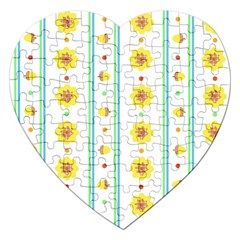 Beans Flower Floral Yellow Jigsaw Puzzle (heart) by Alisyart