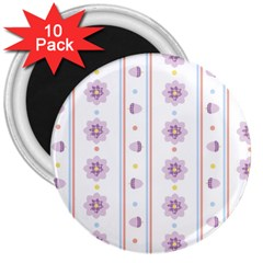 Beans Flower Floral Purple 3  Magnets (10 Pack)  by Alisyart