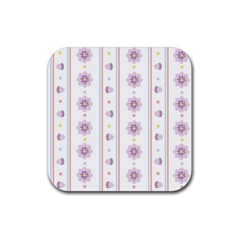Beans Flower Floral Purple Rubber Square Coaster (4 Pack)  by Alisyart