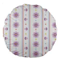 Beans Flower Floral Purple Large 18  Premium Round Cushions by Alisyart