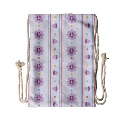 Beans Flower Floral Purple Drawstring Bag (small)