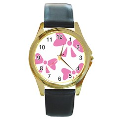 Bow Ties Pink Round Gold Metal Watch by Alisyart