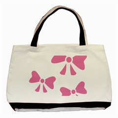 Bow Ties Pink Basic Tote Bag (two Sides) by Alisyart