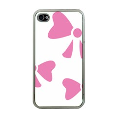 Bow Ties Pink Apple Iphone 4 Case (clear) by Alisyart
