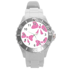 Bow Ties Pink Round Plastic Sport Watch (l) by Alisyart