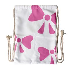 Bow Ties Pink Drawstring Bag (large)