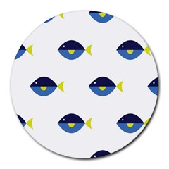 Blue Fish Swim Yellow Sea Beach Round Mousepads by Alisyart