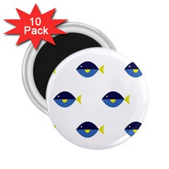 Blue Fish Swim Yellow Sea Beach 2 25  Magnets (10 Pack)