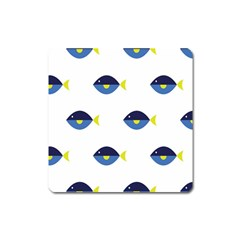 Blue Fish Swim Yellow Sea Beach Square Magnet by Alisyart