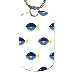 Blue Fish Swim Yellow Sea Beach Dog Tag (one Side) by Alisyart