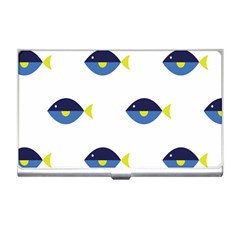 Blue Fish Swim Yellow Sea Beach Business Card Holders