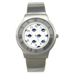 Blue Fish Swim Yellow Sea Beach Stainless Steel Watch by Alisyart