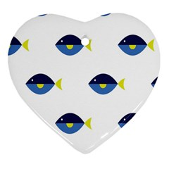 Blue Fish Swim Yellow Sea Beach Heart Ornament (two Sides) by Alisyart