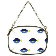 Blue Fish Swim Yellow Sea Beach Chain Purses (two Sides)