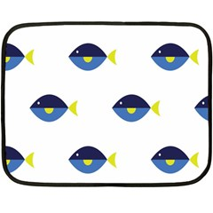 Blue Fish Swim Yellow Sea Beach Fleece Blanket (mini) by Alisyart