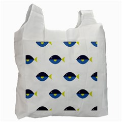 Blue Fish Swim Yellow Sea Beach Recycle Bag (two Side)  by Alisyart