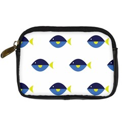 Blue Fish Swim Yellow Sea Beach Digital Camera Cases by Alisyart