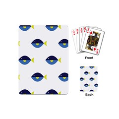 Blue Fish Swim Yellow Sea Beach Playing Cards (mini)