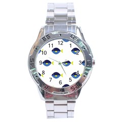 Blue Fish Swim Yellow Sea Beach Stainless Steel Analogue Watch by Alisyart