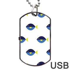 Blue Fish Swim Yellow Sea Beach Dog Tag Usb Flash (one Side) by Alisyart