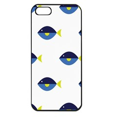 Blue Fish Swim Yellow Sea Beach Apple Iphone 5 Seamless Case (black)