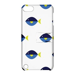 Blue Fish Swim Yellow Sea Beach Apple Ipod Touch 5 Hardshell Case With Stand by Alisyart