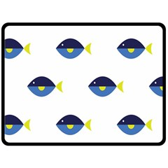 Blue Fish Swim Yellow Sea Beach Double Sided Fleece Blanket (large)  by Alisyart
