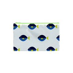 Blue Fish Swim Yellow Sea Beach Cosmetic Bag (xs) by Alisyart