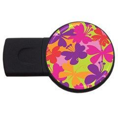 Butterfly Animals Rainbow Color Purple Pink Green Yellow Usb Flash Drive Round (2 Gb)