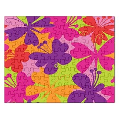 Butterfly Animals Rainbow Color Purple Pink Green Yellow Rectangular Jigsaw Puzzl by Alisyart