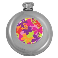 Butterfly Animals Rainbow Color Purple Pink Green Yellow Round Hip Flask (5 Oz)