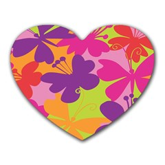 Butterfly Animals Rainbow Color Purple Pink Green Yellow Heart Mousepads by Alisyart