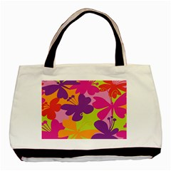 Butterfly Animals Rainbow Color Purple Pink Green Yellow Basic Tote Bag (two Sides) by Alisyart