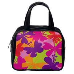 Butterfly Animals Rainbow Color Purple Pink Green Yellow Classic Handbags (one Side)