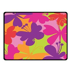 Butterfly Animals Rainbow Color Purple Pink Green Yellow Fleece Blanket (small) by Alisyart
