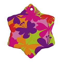 Butterfly Animals Rainbow Color Purple Pink Green Yellow Ornament (snowflake) by Alisyart