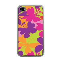 Butterfly Animals Rainbow Color Purple Pink Green Yellow Apple Iphone 4 Case (clear) by Alisyart