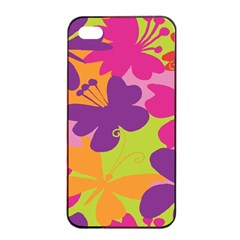 Butterfly Animals Rainbow Color Purple Pink Green Yellow Apple Iphone 4/4s Seamless Case (black) by Alisyart