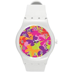 Butterfly Animals Rainbow Color Purple Pink Green Yellow Round Plastic Sport Watch (m) by Alisyart