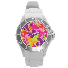 Butterfly Animals Rainbow Color Purple Pink Green Yellow Round Plastic Sport Watch (l) by Alisyart