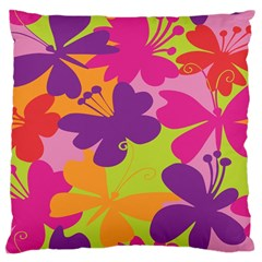 Butterfly Animals Rainbow Color Purple Pink Green Yellow Large Cushion Case (two Sides) by Alisyart