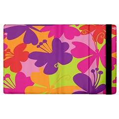 Butterfly Animals Rainbow Color Purple Pink Green Yellow Apple Ipad 2 Flip Case by Alisyart