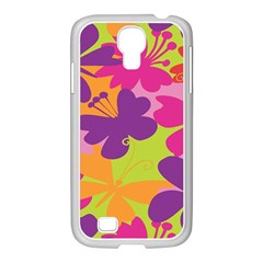 Butterfly Animals Rainbow Color Purple Pink Green Yellow Samsung Galaxy S4 I9500/ I9505 Case (white)