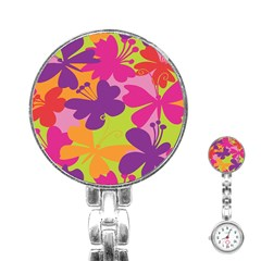 Butterfly Animals Rainbow Color Purple Pink Green Yellow Stainless Steel Nurses Watch by Alisyart