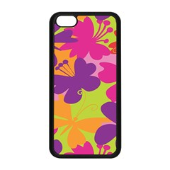 Butterfly Animals Rainbow Color Purple Pink Green Yellow Apple Iphone 5c Seamless Case (black)