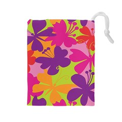 Butterfly Animals Rainbow Color Purple Pink Green Yellow Drawstring Pouches (large)  by Alisyart