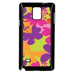 Butterfly Animals Rainbow Color Purple Pink Green Yellow Samsung Galaxy Note 4 Case (black) by Alisyart