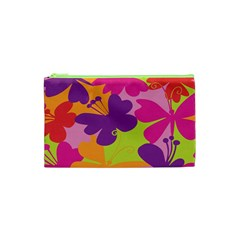 Butterfly Animals Rainbow Color Purple Pink Green Yellow Cosmetic Bag (xs)
