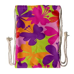 Butterfly Animals Rainbow Color Purple Pink Green Yellow Drawstring Bag (large)